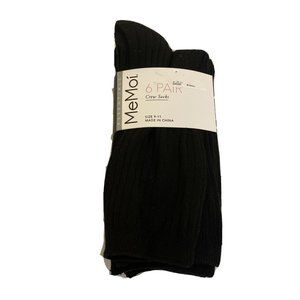 MeMoi Black 6 Pair Ribbed Crew Socks Size 9 - 11